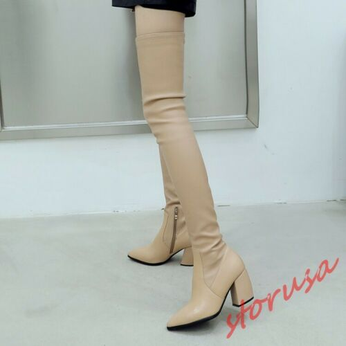 Womensd Pointy Toe Over The Knee Boots Block Heels Stretchy Long Boots Suede
