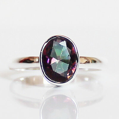 100% 925 Solid Sterling Silver Faceted Mystic Topaz Stone Ring - Size 7