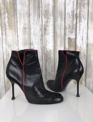 Vintage Stiletto Leather Heel Paris Black Boots 7 France