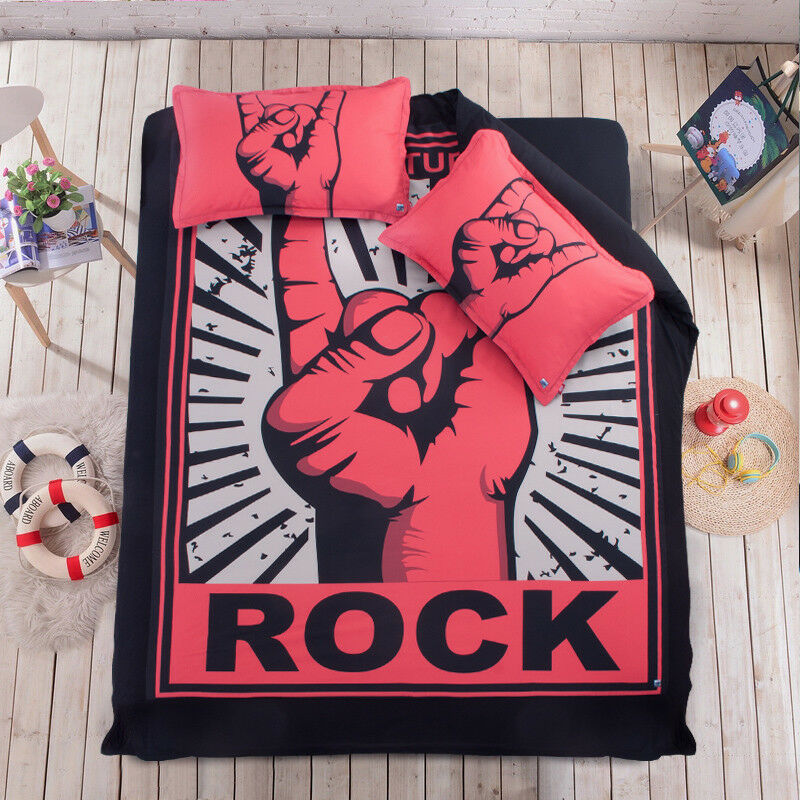 3D Rock Finger 999 Bed Pillowcases Quilt Duvet Cover Set Single Queen King CA