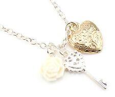 Zest Silver Look Necklace with Key Heart & Flower Pendant