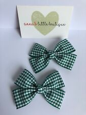 Sky blue and white checked gingham school girls hair bow set handmade x7 bows
