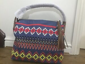 b5fe928a9b3241 Image is loading BNWT-TORY-BURCH-TAYLOR-EMBROIDERED-CHAMBRAY-BLUE-HOBO-