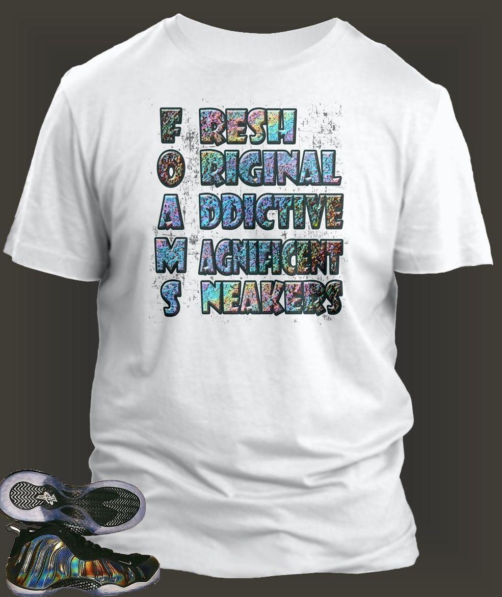 T shirt to Match  AIR FOAMPOSITE Hologram shoes Short Sleeve Tee shirt Sm- 10 XL