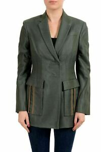 Versace Women's Silk Olive Green Two Button Blazer US M IT 42