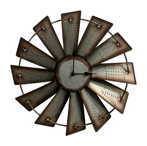 Gianna/'s Home Rustic Farmhouse Country Metal Windmill Wall Clock