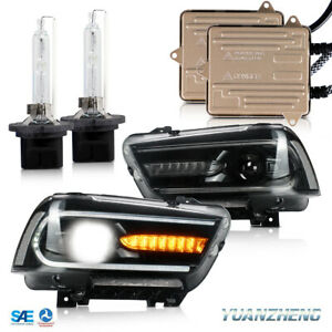 LED-Dual-Beam-Headlights-amp-HID-KIT-D2H-Xenon-Bulbs-For-2011-2014-Dodge-Charger