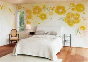 3D Yellow Flowers 909 Wallpaper Mural Paper Wall Print Wallpaper Murals UK Carly