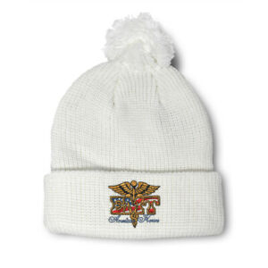 Pom Pom Beanies for Women American Heroes Emt Embroidery Acrylic Skull Cap