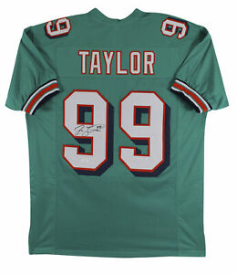 Details about Jason Taylor Authentic Signed Teal Pro Style Jersey Autographed JSA Witness