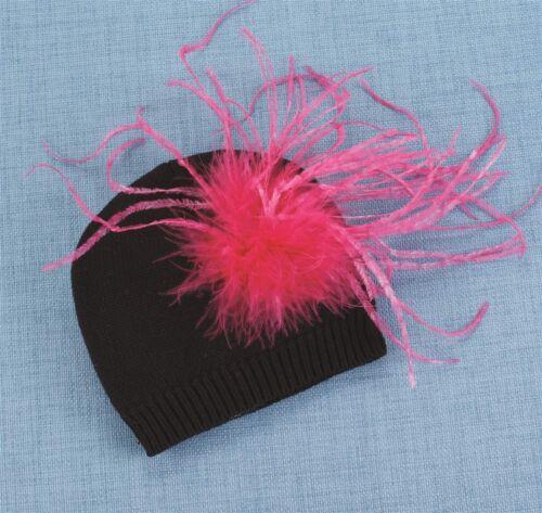 NWT Mud Pie Wild Child Pink Ostrich Feather Knit Hat 0-12-18