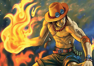 STICKER AUTOCOLLANT POSTER A4 MANGA ONE PIECE.PORTGAS.D.ACE FRERE LUFFY CHAPEAU