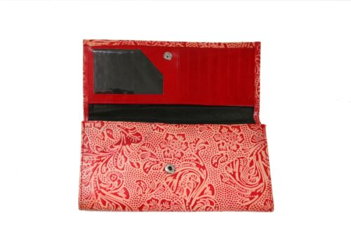 Printed Leather Purse Wallet Card Holder Clutch Multicolour Fantasy UK postage