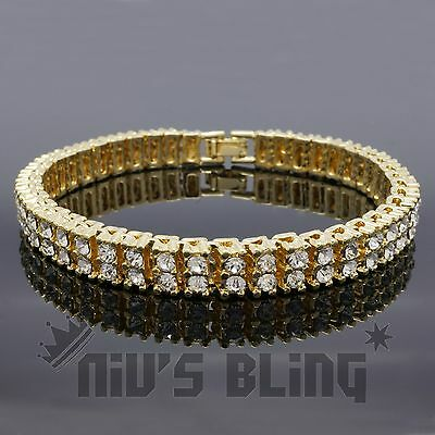 14k Gold Silver Black Canary 2 ROW Lab Diamond Iced Out Chain HipHop Bracelet