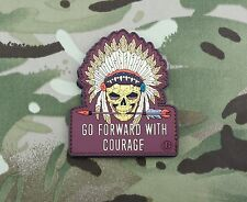 Go Forward With Courage Morale 3D PVC Patch Chief White Eagle Warrior Skull