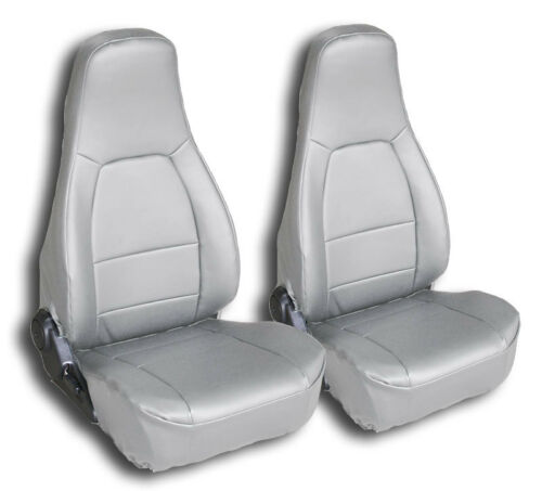MAZDA MIATA 1990-2000 GREY IGGEE S.LEATHER CUSTOM FIT FRONT SEAT COVERS
