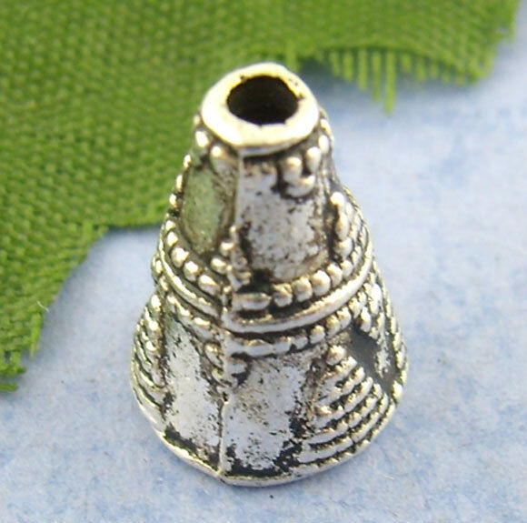60PCs Silver Cone Cap End Beads 11*9mm