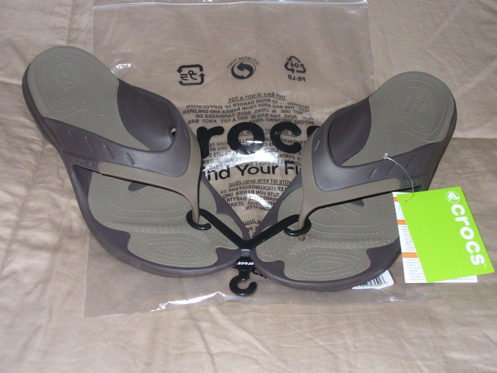 Crocs Modi Sport Flip Flop Sandal 202636-23B Espresso Walnut 100% Authentic 12.