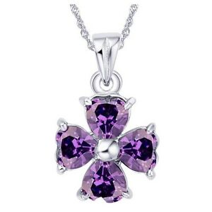 Women-Amethyst-Heart-Cut-Pendant-925-Sterling-Silver-Four-Leaf-Clover-Necklace