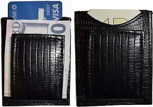 Lezard-Noir-peau-imprime-cuir-porte-billets-sans-marque-Neuf-Lot-of-2