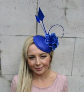 Royal Blue Rose Quill Flower Feather Pillbox Hat Fascinator Hair ... c40c9eaad3e