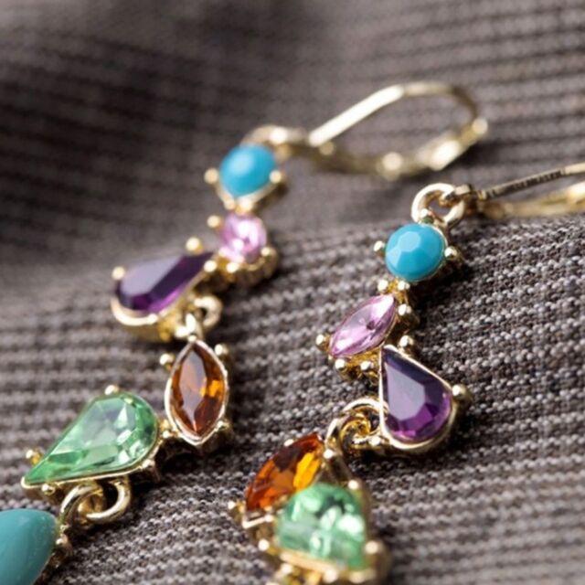 Sales  For Gem Long Women Elegant Jewelry Multicolor Crystal Earrings Fashion