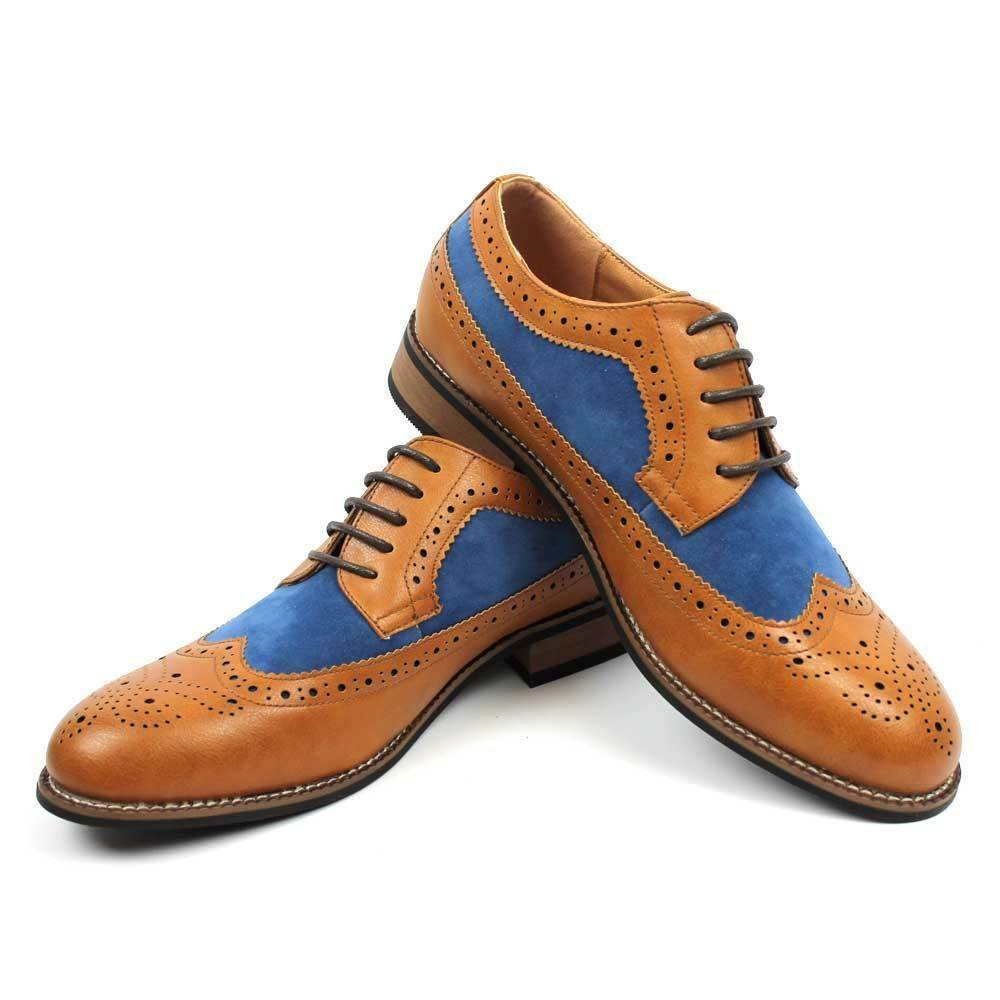 New Uomo Dress Shoes Brown Wing Tip Brogue Mid Blue Suede Modern Lace up By AZAR