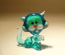 "Blown Glass ""Murano"" Art Figurine Animal Small Blue Kitten CAT"