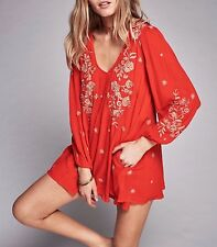 146194 New $148 Free People Sweet Tennessee Embroidered Cutout Tunic Dress XS