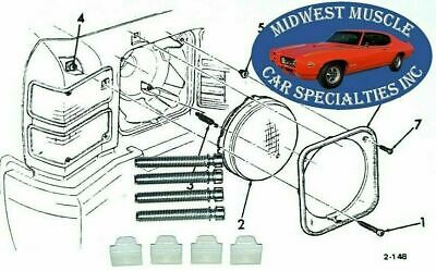 1970 Chevelle SS El Camino Head Lamp Light Chrome Bezel Hardware Scew Kit Set