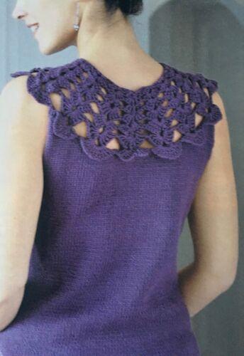 Tejer patrón de ganchillo Señoras sin mangas top encaje con patrones yugo Rowan