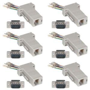 6x 9-pin db9 rs232 male to rj11/12 6p6c phone line jack modular, Wiring diagram