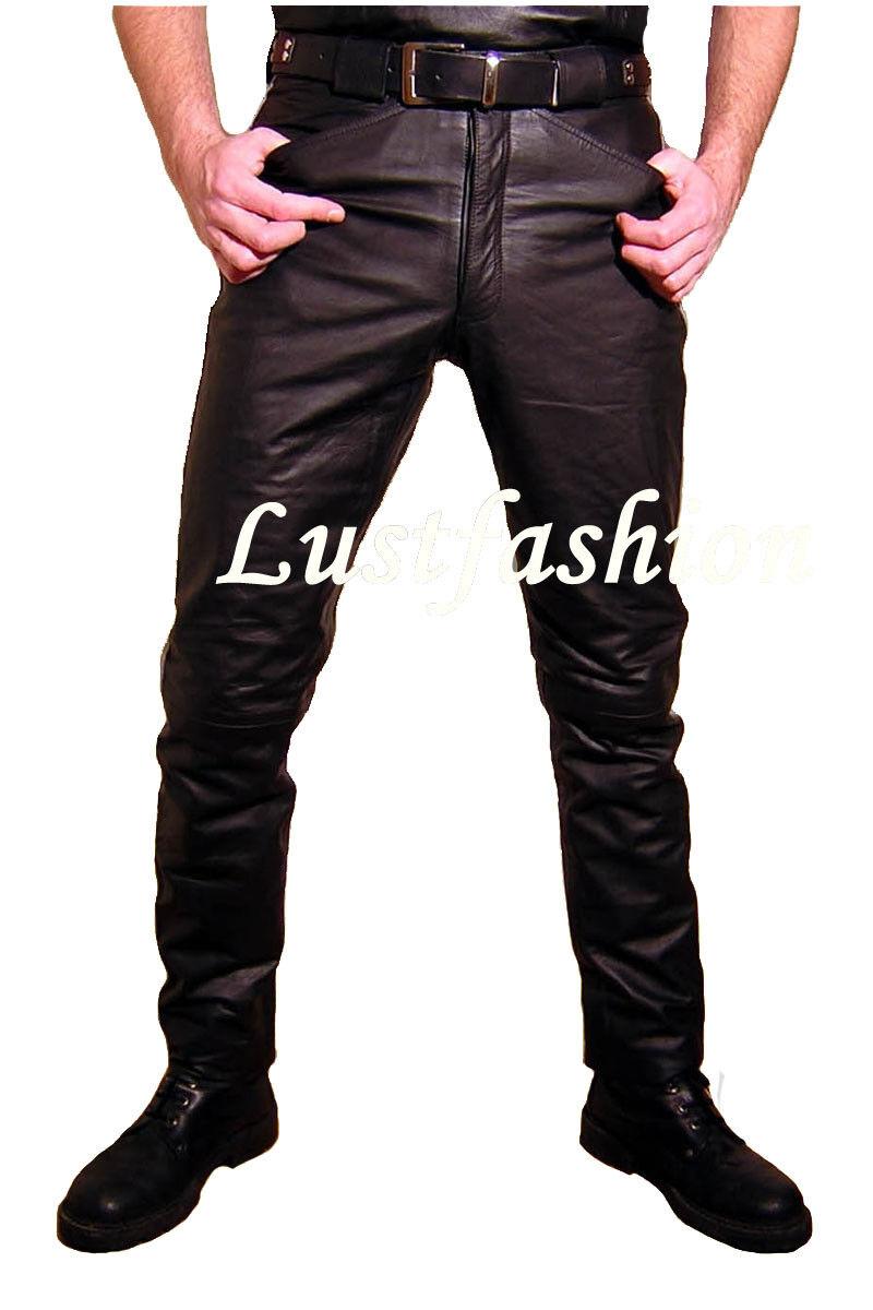 JEANS IN PELLE Lederhose Pantaloni Pantaloni Pantaloni Pelle Nero Nuovo leather trousers pants cuir ef15d4