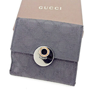 6d668cadaad Gucci Wallet Purse GG Black Silver Woman unisex Authentic Used A1614 ...