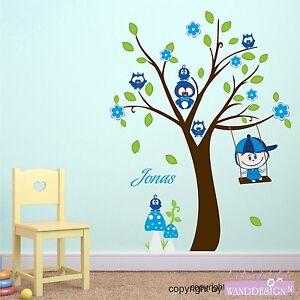 Wall Tattoo Kids : WALL-TATTOO-Owl-Tree-and-Paul-tree-Owl-Swing-Child-Wall-sticker