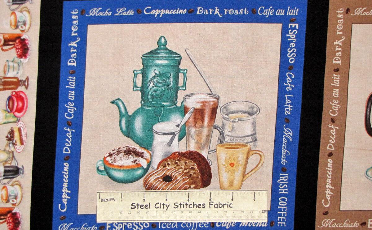 I Love Coffee Java Brew Espresso Donut Irish Cream Sweets Cotton Fabric PANEL