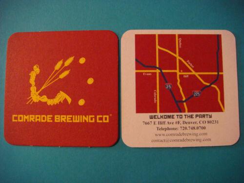 Beer COASTER ~ COMRADE Brewing Co ~ Denver COLORADO Craft Brewery Since 2014