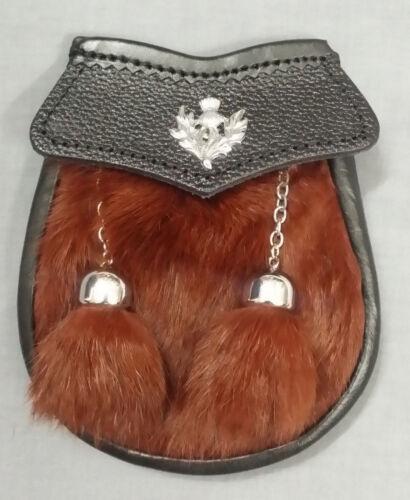 New Child/'s Kilt Sporran Rabbit Fur Dark Brown Thistle Crest//Kids,Baby Sporrans