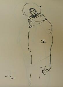 JOSE-TRUJILLO-Original-Charcoal-Paper-Sketch-Drawing-18x24-Saint-Angel-Figure