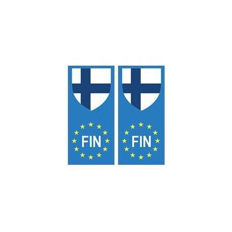 Finlande Suomi europe drapeau Autocollant -  Angles : arrondis