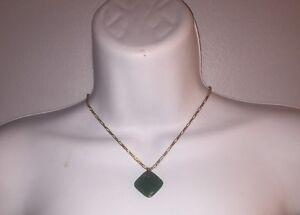 #209 antique JADEITE Pendant set w/14k gold Bright Translucent Green 18.69tcw