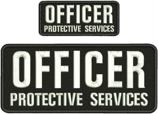 U.S PROTECTIVE SERVICE EMBROIDERY PATCH 4X10 AND 2X5  hook on back BLK//GRAY