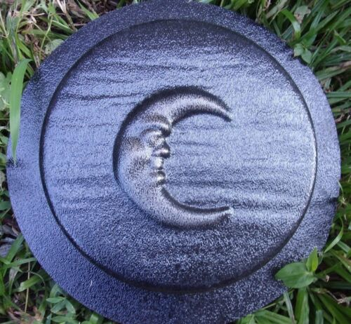 "Moon stepping stone mold  plaster concrete mould 8/"" x 1.25/"" thick"