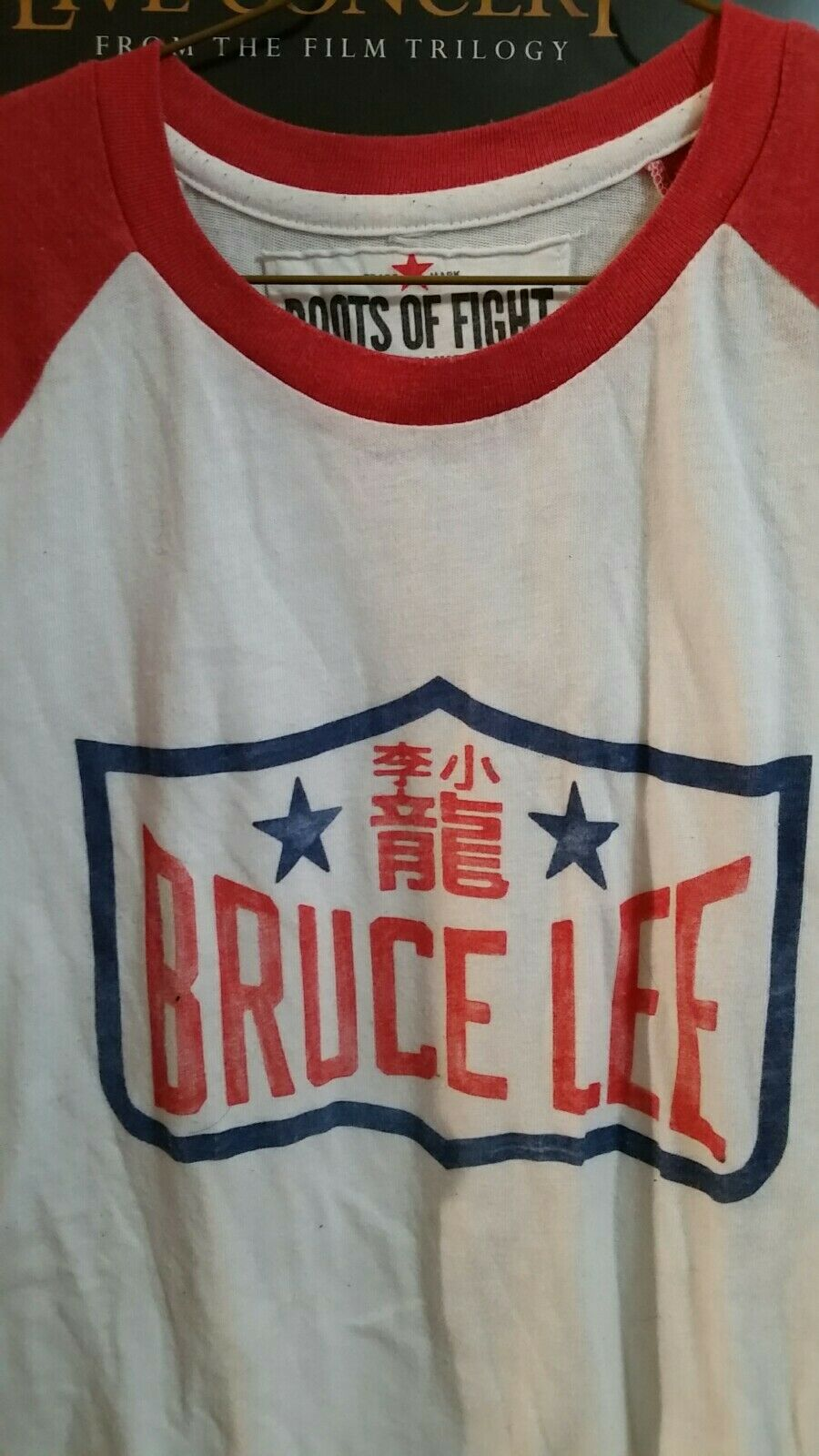 Bruce Lee Roots of Fight Raglan Sleeve Red Triblend T Shirt Baseball 3 4 Sleeve