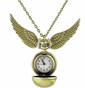 Harry potter golden snitch pendant pocket watch necklace wings chain image is loading harry potter golden snitch pendant pocket watch necklace aloadofball Choice Image