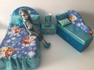 Barbie Or Disney Dolls.furniture Bedroom Set:Bed,sofa,lamp,woodbox ...