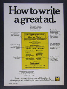 1969 Yellow Pages Directory 'How to write a great ad.' vintage print Ad    eBay