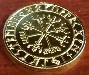 VALHALLA-THOR-HAMMER-Coin-Compass-Good-Luck-Runes-Runic-Pagan