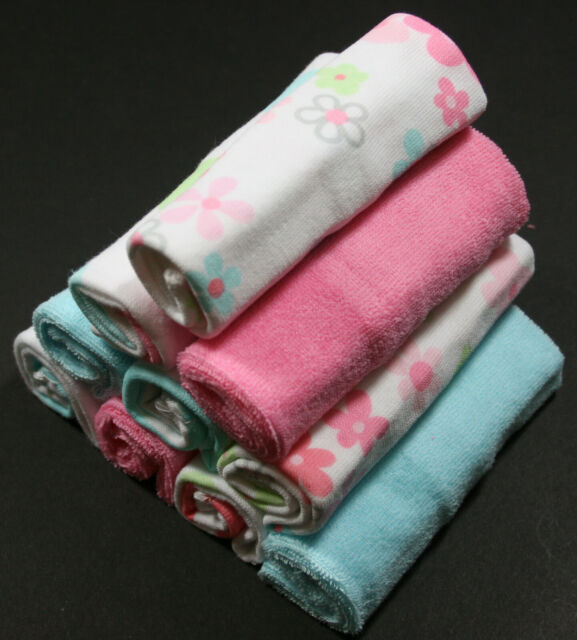 84e0f4d20 GERBER BABY GIRL'S 10-PACK COTTON / POLY WASHCLOTHS - FLOWERS - PINK BLUE -
