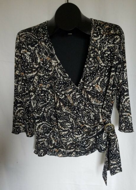 COLDWATER CREEK Black White Brown Size L Wrap Top V Neck Polyester 3/4 Sleeves
